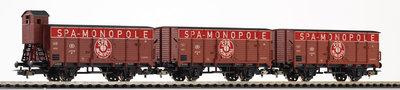 3er Set ged.Güterwagen SPA MONOPOLE B III Speichenräder